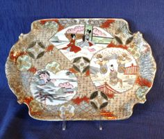 Nippon-Signed-Satsuma-Tray-Hand-Painted-Imari-Motif-With-Gold-Moriage