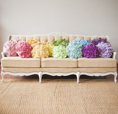 YES PLEASE. Frilly rainbow pillows.