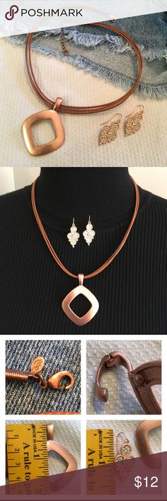 """Premier Designs EMBERS Copper Necklace & Earrings Selling both the earrings and the necklace together. Retail price just for the Necklace is $39.00. No condition issues or wear. Enhancer has a magnetic clasp. Necklace is faux leather. 18""""-21"""" long. Premier Designs Jewelry Necklaces"""