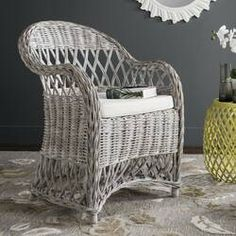 Mistana™ Sephina Armchair & Reviews Screened In Porch Furniture, Casual Decor, White Cushions, White Wicker, Colorful Chairs, Barrel Chair, Toss Pillows, Rustic Style, Rattan