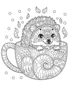 Hedgehog in cup. Adult antistress coloring page with animal in zentangle style. Vector illustration for T-shirt print, tattoo, logo. - Buy this stock vector and explore similar vectors at Adobe Stock Mandalas Painting, Mandalas Drawing, Mandala Coloring Pages, Animal Coloring Pages, Coloring Book Pages, Coloring Pages For Kids, Coloring Sheets, Free Adult Coloring, Printable Adult Coloring Pages