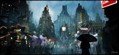This image by The-Cybepunk on deviantART shows us a jagged cityscape ascending into the sky against a torrential rain, while the city lights shine through