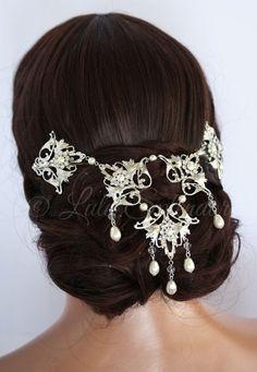 Wedding Headpiece Back Hair Piece Bridal Hair Accessory Swarovski Crystal Pearl Hair Chain Draped Wedding Headpiece RUTH HP