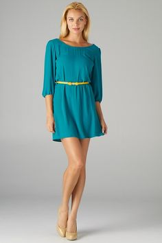 Tunic Dress with Back Zipper Detail and Belt (Green)