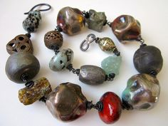 All Love - huge primitive assemblage red ands blue silvered raku beads, vintage trade beads, stone nuggets, & copper chunky choker necklace by LoveRoot, $176.00