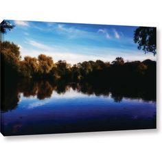 ArtWall John Black Lake View Gallery-Wrapped Canvas, Size: 12 x 18, Blue