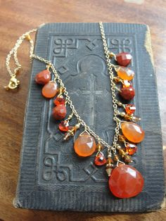 Gold plate natural agate draped necklace by Tootsiejos on Etsy, $25.00