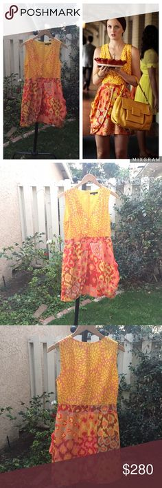 Nanette Lepore Dress ASO Blair Waldorf Gossip Girl Nanette Lepore yellow & orange silk dress. Size 6. In excellent condition. A same model of this dress was seen worn on Blair Waldorf (Leighton Meester) on Gossip Girl. It's perfect for a day out during the spring and summer seasons. It comes with a fabric belt, you can wear it as a belt (like Blair did) or you can wear it as a thin scarf. There are also two pockets Please note: this dress is not the exact dress that Blair wore on set, it's…