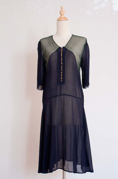 1920s navy and green chiffon day dress / vintage sheer Midnight in Paris dress with buttons