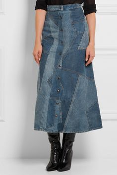 Tonal-blue denim Button fastenings through front 100% cotton Dry clean Made in…