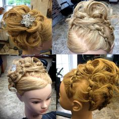 Updo created from french knots, into curly teased bun with bling!