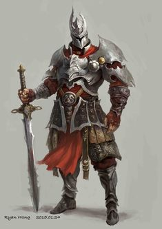 Epic swordsman infantry with greatsword weapon and heavy armor, shield, boot and helmet fantasy art for dnd d&d rpg games Warrior Concept Art, Fantasy Art Warrior, Armor Concept, Fantasy Armor, Character Design Cartoon, Fantasy Character Design, Character Inspiration, Character Art, Medieval Knight