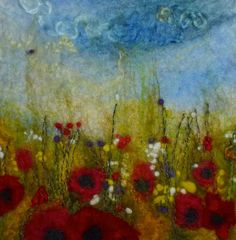meadow at dusk by Caren Threfall. Check out her entire gallery. Nuno Felting, Needle Felting, Felt Pictures, Acrylic Artwork, Felting Tutorials, Vintage Crafts, Textile Artists, Felt Art, Silk Painting