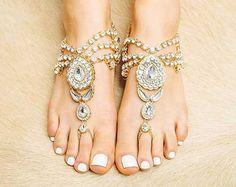 Jeweled goldene barfuss Sandalen, flache seelenlos Sandaletten für Damen, Hochzeit Schmuck Bauchtanz formale Abschlussball verkauft wie verzaubert Gold B1412 paar