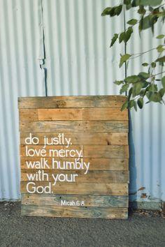 Bible verse Reclaimed Wood Hand-Painted Art- Micah 6:8 Sign. $95.00, via Etsy.