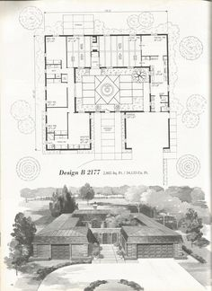Design B 2177 Atrium/Vintage house plans, mid century homes, luxurious vintage home plans Vintage House Plans, Modern House Plans, House Floor Plans, Architecture Courtyard, Residential Architecture, The Plan, How To Plan, Walking Closet Ideas, Patio Central