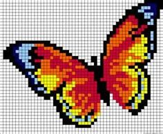 ideas for knitting charts butterfly perler beads Bead Loom Patterns, Perler Patterns, Beading Patterns, Embroidery Patterns, Cross Stitch Charts, Cross Stitch Patterns, Cross Stitching, Cross Stitch Embroidery, Modele Pixel Art