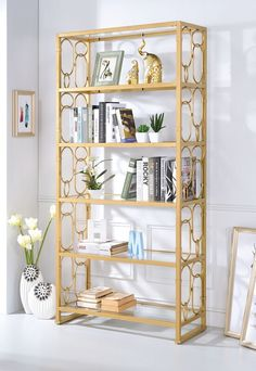 The Acme Furniture Julos Etagere Bookcase blends modern design and everyday function together with sturdy glass shelves and a metal frame. Glass Bookshelves, Open Bookcase, Etagere Bookcase, Glass Shelves, Gold Bookshelf, Wall Shelves, Gold Etagere, Bookcases, Oak Furniture Land