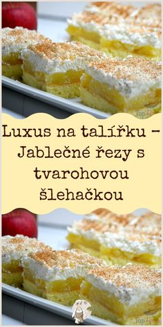 Luxus na talířku – Jablečné řezy s tvarohovou šlehačkou Easy Dinner Recipes, Sweet Recipes, Easy Meals, Czech Recipes, Beef Bourguignon, Keto Dinner, Ham, French Toast, Deserts