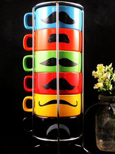 Mustache Mugs. I can make these with a china paint marker and my cup set from World Market!