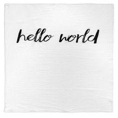 Organic Cotton Muslin Swaddle Blanket - Hello World
