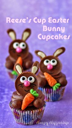 Top store bought or homemade cupcakes with Reese's Cups to make these adorable Reese's Cup Easter Bunny Cupcakes. Tutorial at http://HungryHappenings.com
