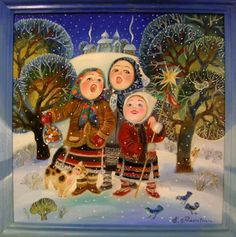 Ukrainian Bell Carol (AKA Carol of the Bells or Shchedryk ) has become one of the world's most recognizable Christmas carols, played by mu. Christmas Scenes, Christmas Past, Vintage Christmas, Christmas Cards, White Christmas, New Year Illustration, Christmas Illustration, Illustrations, Ukrainian Christmas