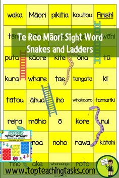 This pack includes three Sight Word Snakes and Ladders Game Boards. These boards feature 117 te reo Māori high frequency sight words. Help your students build their sight word fluency while also engaging them in this fun game. Sight word recognition improves reading fluency, allowing the student to focus their efforts on the more mentally demanding task of reading comprehension. Use for homework, during guided reading, or as an early finisher activity. This resource would be useful in both…