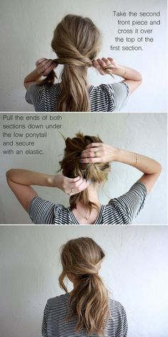Messy Crossover Ponytail Short Hairstyles, Messy Ponytail Hairstyles, 5 Minute Hairstyles, Hairdos, Haircuts For Long Hair, Haircuts With Bangs, Wedding Hairstyles, Easy Hairstyles For School, Bangs Hairstyle