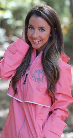 Monogrammed New England Rain Jacket - Available in 11 Colors! #falloutfits #rainjacket