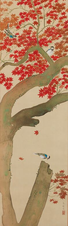 Birds and Red Leaves by Tsuchida Bakusen. Tsuchida Bakusen (土田麦僊?, February 9, 1887 - June 10, 1936) was the pseudonym of a Japanese painter in the Nihonga style, active during the Taishō and early Shōwa eras.