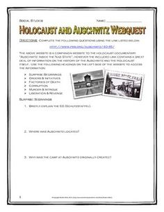 """This 8 page document contains a webquest and teachers key related to the overall Holocaust and the concentration camp Auschwitz. It contains 17 questions over five sections of the PBS website for """"Inside the Nazi State"""", and contains detailed information on both the Holocaust and Auschwitz itself.  Your students will learn about the role of the SS, Heinrich Himmler, the creation of the concentration camp system, the conditions of the camps and the experiences of the prisoners."""