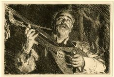 Anders Zorn: Portrait of elderly bearded man, half-length facing front playing lute; third state. 1918 Etching and drypoint
