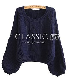 Lingswallow Women's Cable Knitted Loose Crop Top Sweater Pullover Jumper Blue