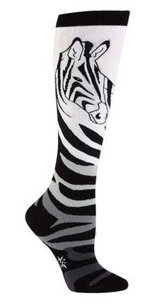 Zebra Knee High Socks from The Sock Drawer