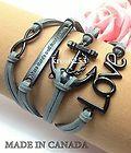 Womens Charm Bracelet Infinity Love Anchor WTAW Grey Velvet Black Alloy K867