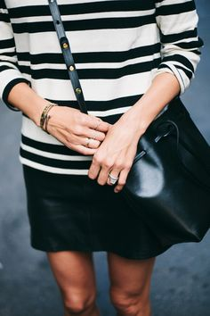 black and white striped top, skirt & Mansur Gavriel bag #style #fashion