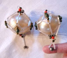 2 Antique Christmas Tree Ornaments  Wired by Patiquespottery2, $12.95