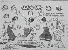 classicanimationart: Model sheet of Olive Oyl. c. 1930s.