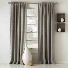three drapes panels on back wall - Linen Cotton Curtain + Blackout Lining - Platinum | west elm