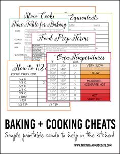 Printable Baking and Cooking Cheats- free cards full of information. Free printables to make things easier in the kitchen! Cooking App, Easy Cooking, Cooking Recipes, Healthy Recipes, Beginner Cooking, Healthy Food, Kid Cooking, Skillet Recipes, Cooking Games