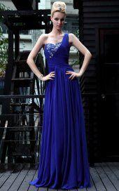Gaine en mousseline de soie perlée Bleu Robes de bal / soirée