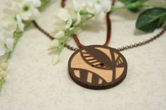 Tree Pendant Necklace  made with a wooden button on by AngleAh, $14.00