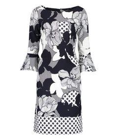 Belldini Plus Size Floral Print Handkerchief Hem Tunic