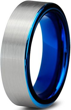 awesome Tungsten Wedding Band Ring 6mm for Men Women Comfort Fit Blue Pipe Cut Brushed Lifetime Guarantee