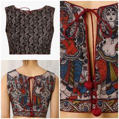 Blouse Pattern Kalamkari Blouse Designs, Saree Blouse Neck Designs, Kurti Neck Designs, Choli Designs, Kalamkari Saree, Simple Blouse Designs, Stylish Blouse Design, Designer Blouse Patterns, Blouse Models