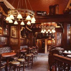 Alternatively, the interior of your pub may look like this: a little more glamorous, with touches like leather seating and pretty lighting. (Make sure your pub has a spare back room, or an upstairs area you can hire that's separate from the rest of the pub, and preferably doesn't contain the only bathroom in the place. This will save you tonnes of money compared to hiring out the whole place!)