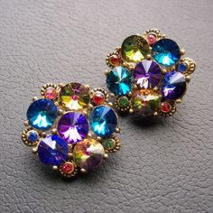 Vintage Rainbow Flower Clip Earrigs