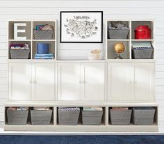 Shop cameron wall system from Pottery Barn Kids. Find expertly crafted kids and baby furniture, decor and accessories, including a variety of cameron wall system. Wall Storage Systems, Storage Solutions, Kids Storage, Storage Room, Playroom Storage, Basement Storage, Art Storage, Playroom Ideas, High Quality Furniture