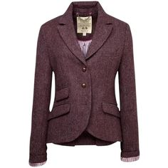 Pre-owned Jack Wills Tweed Austerberry Plum/eggplant Blazer ($123) ❤ liked on Polyvore featuring outerwear, jackets, blazers, tweed blazer, plum blazer, tweed jacket, purple blazer and blazer jacket